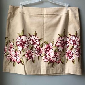 Loft Beige Skirt with Pink Flowers Size 16